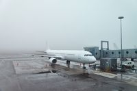 Misty weather at the airport