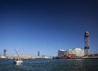 world trade center and barcelona port cable car spain