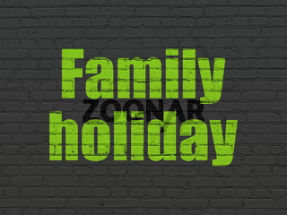 Travel concept: Family Holiday on wall background