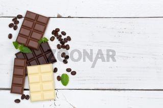 Schokolade Tafel Süßigkeiten Essen Textfreiraum von oben