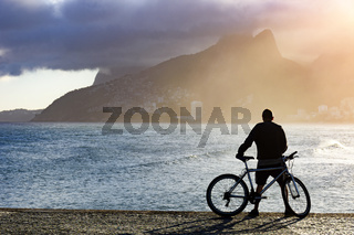 Cyclist during late afternoon
