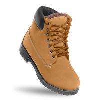 Brown boot. Angle view