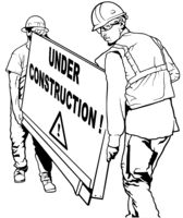 Two Building Workers Carrying Wooden Board