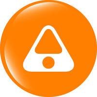 Attention caution sign icon. Hazard warning symbol. Modern UI website button