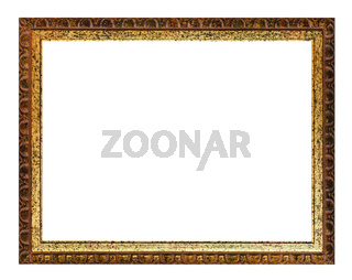 Aged carved golden and brown wooden picture frame