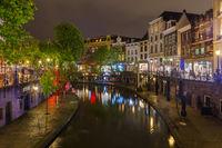 UTRECHT NETHERLANDS - APRIL 24, 2017: Central district on April 24, 2017 in Utrecht Netherlands
