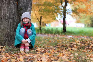 girl in autumn park outdoor