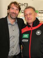 Steffen Stiebler (SC Magdeburg) und DHB-Bundestrainer Frauen Michael Biegler DHB Medientag 10.10.17