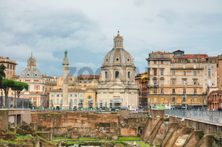 Santa Maria di Loreto church and Colonna Traiana in Rome