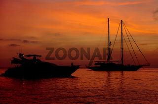 Vessels at Cala Saona bay in Formentera during sunset. Spain
