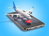 Airplane on the mobile phone. Internet online searching and buying airplane boarding pass tickets by smartphone.