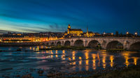 Sunset image of Blois and the Loire River, France