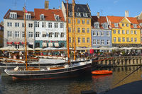The street cafe on the waterfront of Neyhavn in Copenhagen.