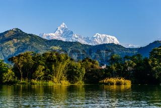 The Machapuchare and Annapurna III seen Pokhara, Nepal