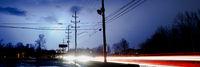 Natural Electricity Lightning Strike Behind Electrical Lines Poles