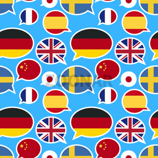 Speech bubbles with different flags on blue background