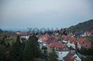 Häuser abends in Wernigerode im Harz