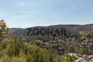 Landschaft um Wernigerode mit Gebirge