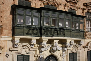 Malta, Gallarija,typischer Balkon, Palace Square, Valletta