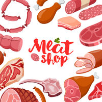 Meat vector frame with logo. Fresh meat icon