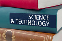 A book with the title Science and Technology written on the spine