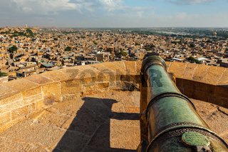 View of Jaisalmer city from Jaisalmer fort, Rajasthan, India