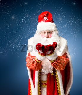 Santa Claus on blue background.