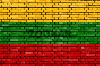 flag of Lithuania painted on brick wall
