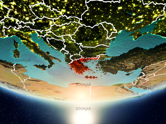 Greece with sun on planet Earth