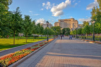 Alexander Garden in the center of Moscow, Russia