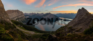 Panorama of Kananaskis lakes at sunrise from sarrail ridge