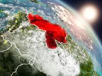 Venezuela from space during sunrise