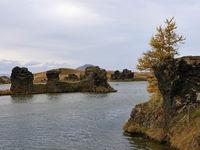 Lava-Formation im Herbst am See Myvatn bei Höfdi in Island