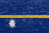 flag of Nauru painted on brick wall