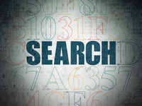 Web design concept: Search on Digital Data Paper background