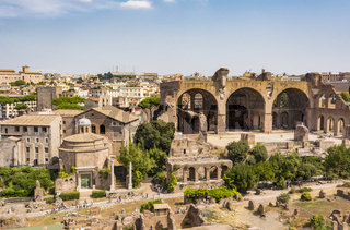 Top view of Roman Forum, Rome Italy