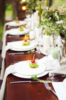 Decoration of wedding table with crystal vases, flowers and appetizer