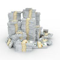 3d rendering lots of packs of US dollars
