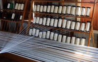 Silk thread on weaving tool