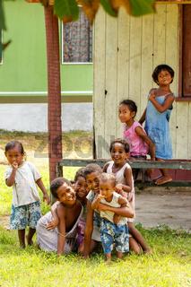 Children playing in Lavena village on Taveuni Island, Fiji