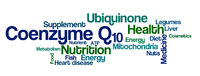 Word Cloud on a white background - Coenzyme Q10