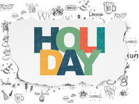 Holiday concept: Holiday on Torn Paper background