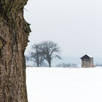 Landschaft und Acker mit Schnee im Winter