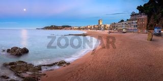 Panorama of Lloret de Mar Seafront in the Morning, Lloret de Mar, Catalonia, Spain