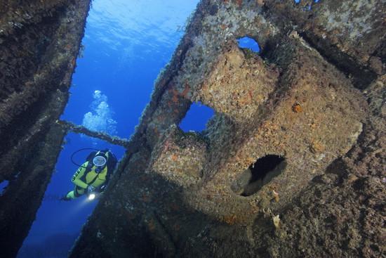 Schiffrwrack Elviscot mit Taucher, Shipwreck Elviscot and scuba diver, Pomonte, Elba, Italien, Italy