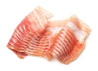 Raw, Smoked Bacon Isolated on White Background