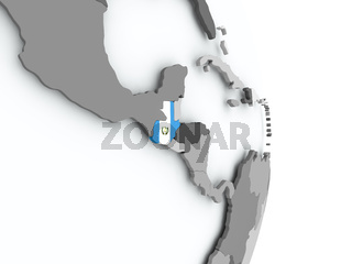 Map of Guatemala with flag