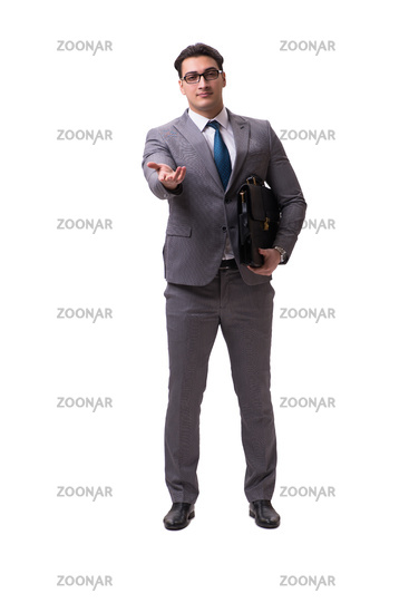 Handsome businessman isolated on white background
