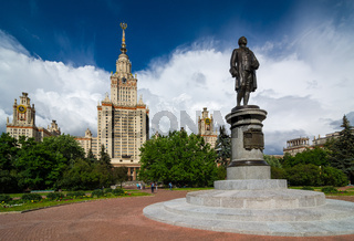 Lomonosov Moscow State University and monument.
