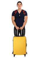Urlaub junger Mann mit Koffer Reise reisen verreisen jung Freisteller isoliert freigestellt